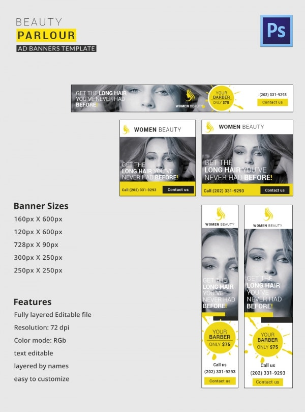 beauty parlour banner ads