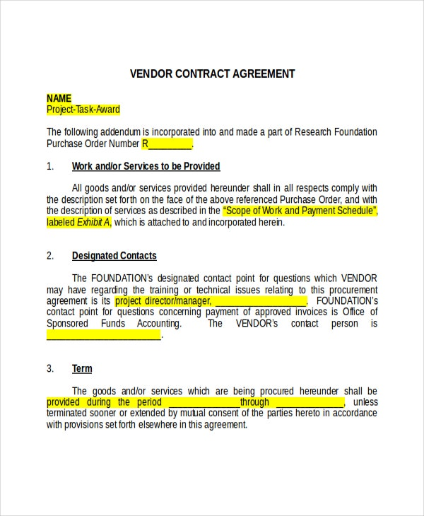 17 Agreement Templates Free Sample Example Format – Vendor Contract Template