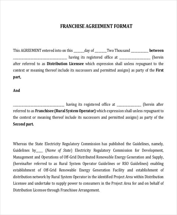 17 Agreement Templates Free Sample Example Format – Franchise Agreement Template
