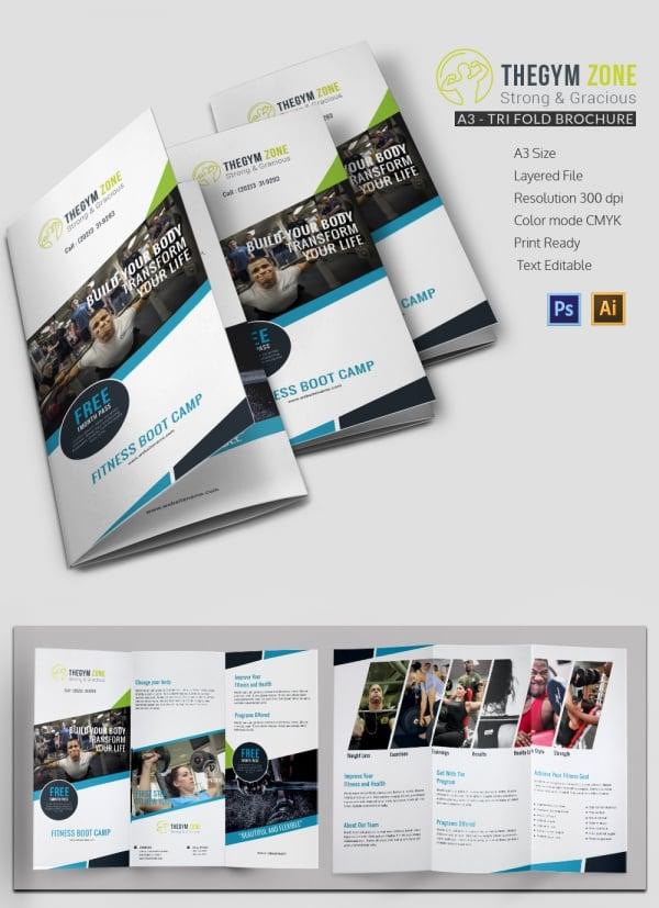 gym a3 tri fold brochure