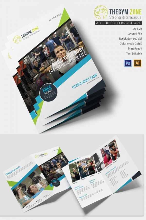 gym a4 bi fold brochure