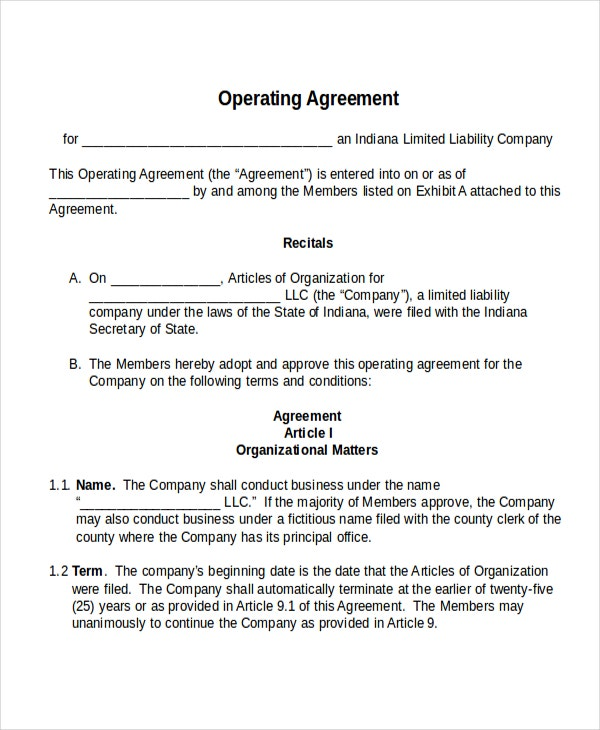 17 agreement templates free sample example format for Operation agreement llc template