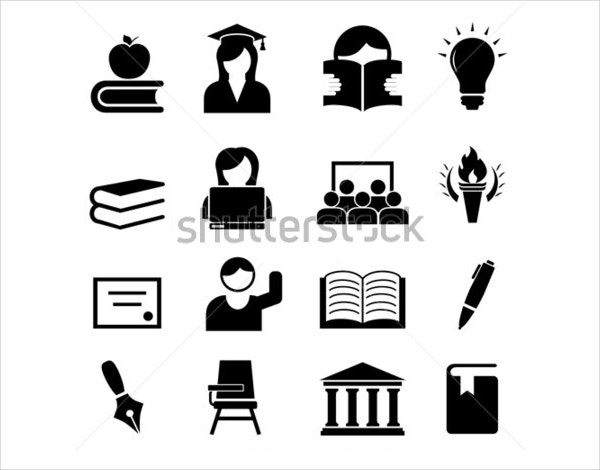 Black & White Student Icon