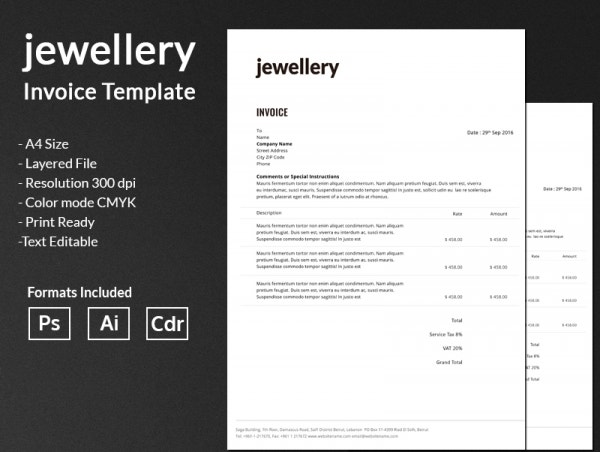jewelry invoice design