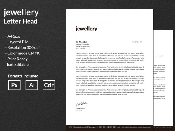 Jewelry Letterhead Template