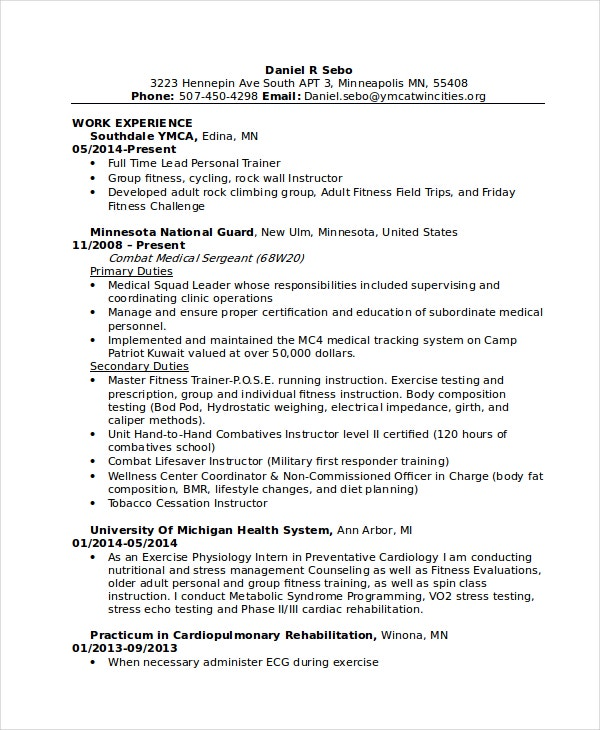 Great Individual Fitness Personal Trainer  Personal Training Resume