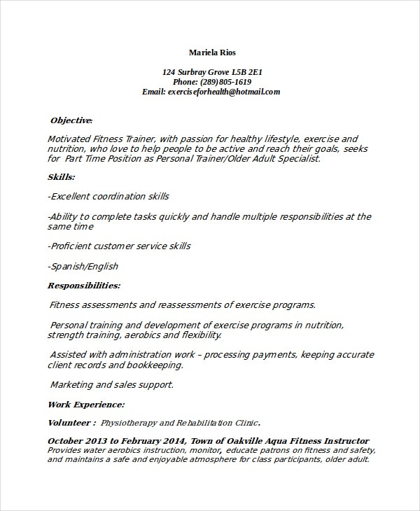 weight loss personal trainer resume - Fitness Instructor Resume Sample