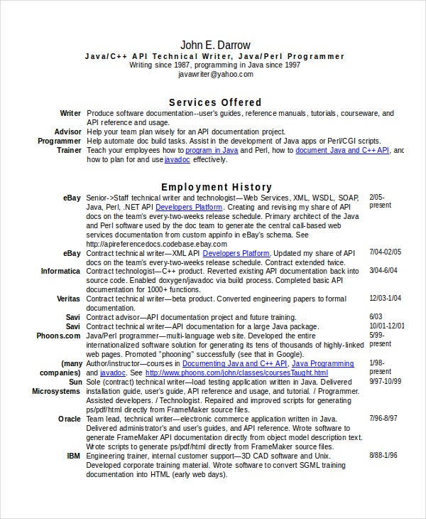 Technical Writer Resume. Resume