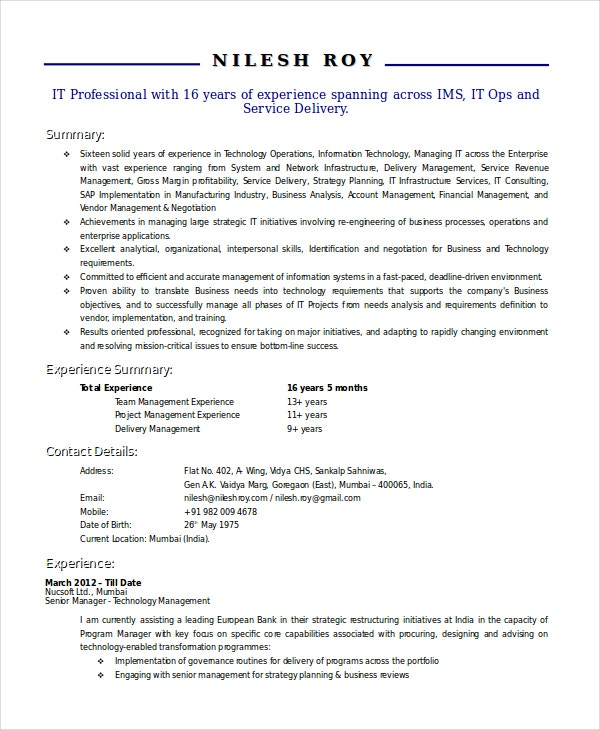 technical resume resume format download pdf