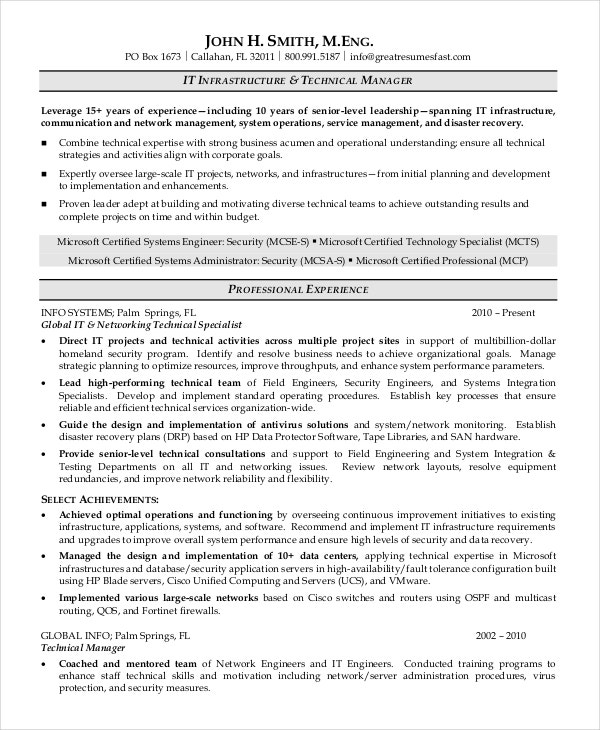 Professional Technical Manager Resume