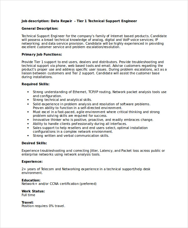 Technical Resume Template   Free Word Pdf Document Downloads