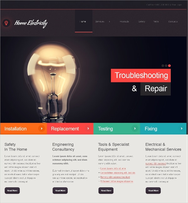 electricity repair joomla website template 75