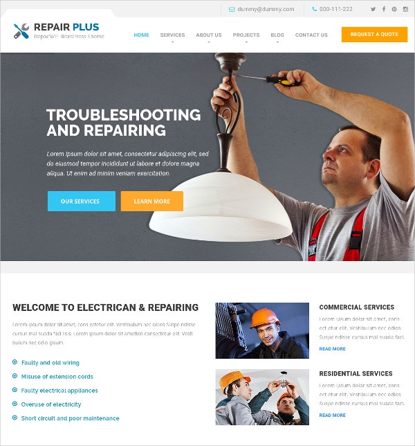 electrician trouble wordpress website theme 49