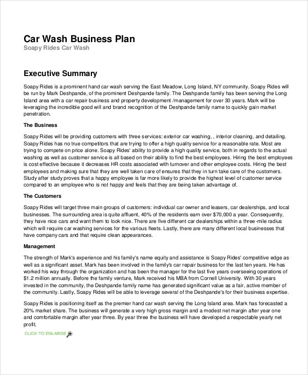 Car wash business plan examples