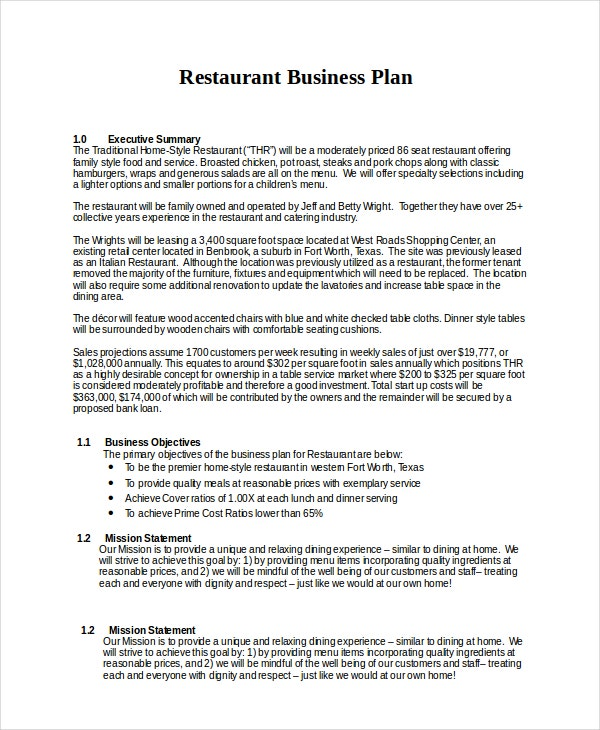 restaurants business plan example