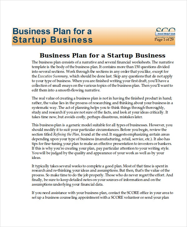 Startup Business Plan Sample Starting Costs Business Plan