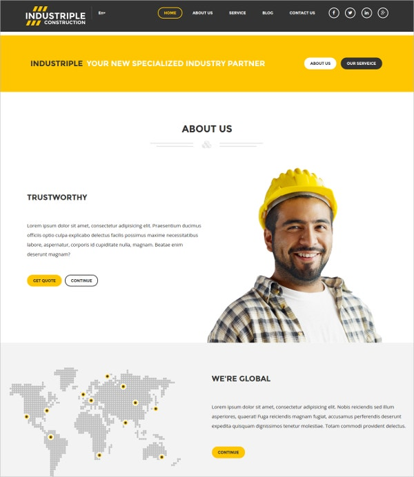 industrial electrician services wordpress website theme 44