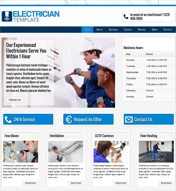 experienced electrician wordpress website theme