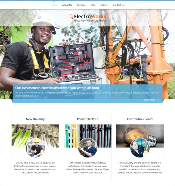 Residential Electricians WordPress Website Theme $79