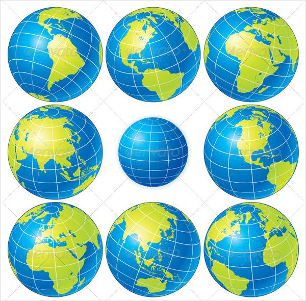 Globe Sphere 3D Icons