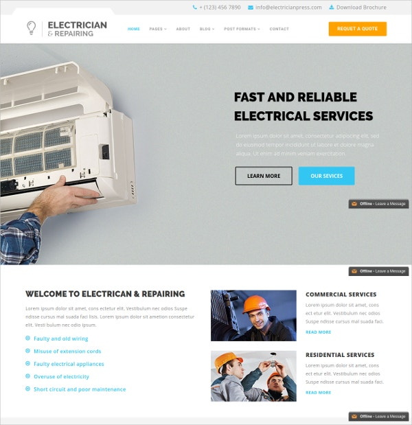 electrician repairing joomla website template