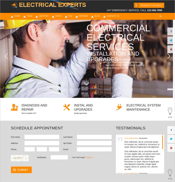 commercial electrical services html5 website theme