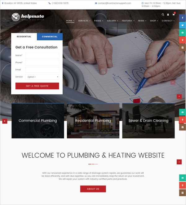 electrician plumbing wordpress website theme 59