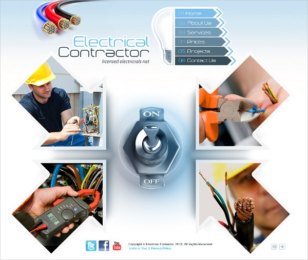 responsive electrical contractor website theme