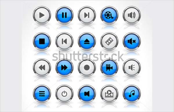 Media Buttons 3D Icons