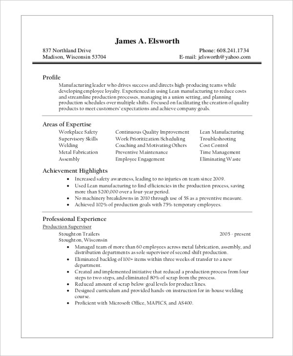 Sample Production Supervisor Resume | Template