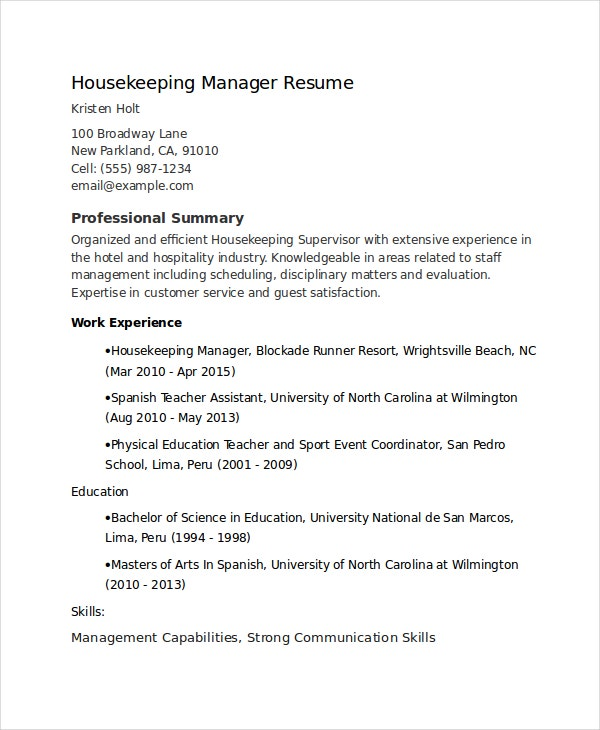 housekeeping supervisor resume - Housekeeping Resume Samples