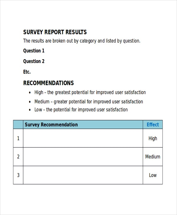 Microsoft Word Survey Report Template