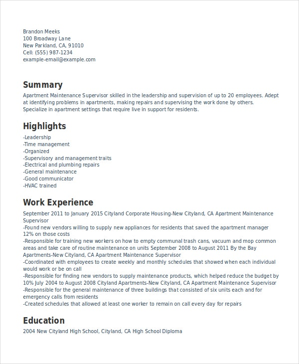 Superbe Maintenance Supervisor Resume Template