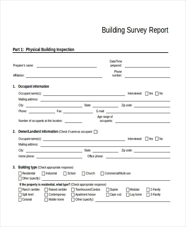 31 survey template free sample example format free building survey report template pronofoot35fo Images