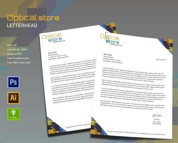 Optical Store Letterhead