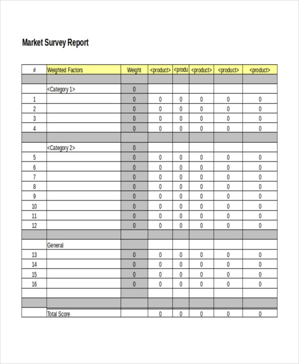 Market Survey Report Template