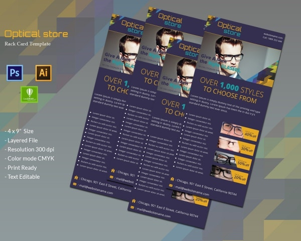 Optical store rack card