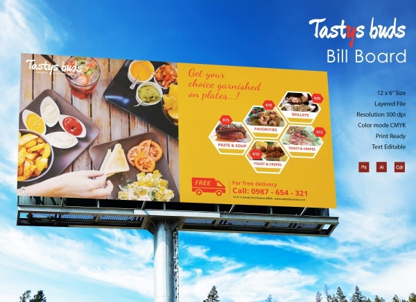 restaurant buds billboard