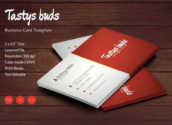 restaurant buds business card