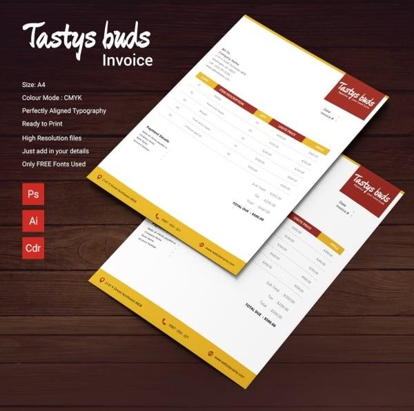 restaurant buds invoice