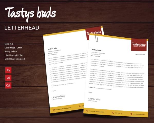 restaurant buds letterhead