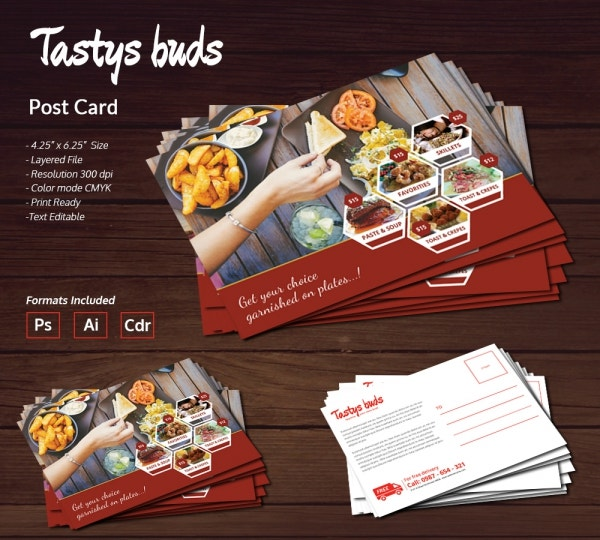 restaurant buds postcard