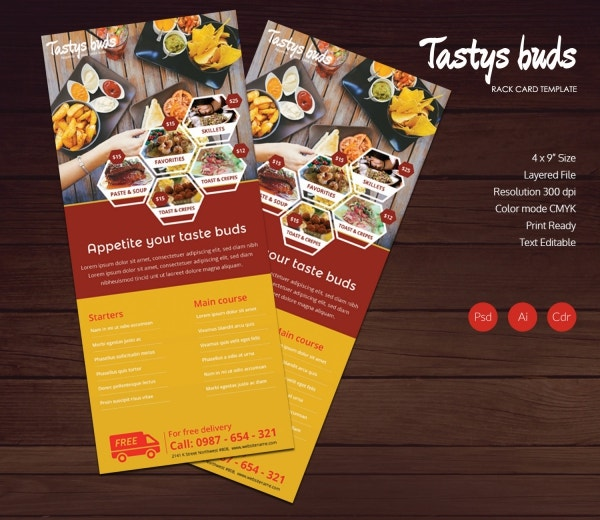 restaurant buds rack card