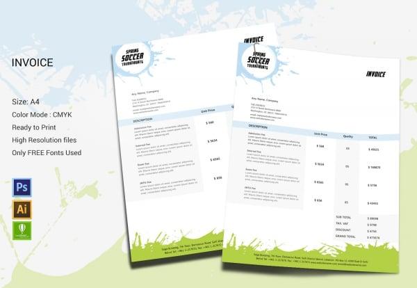 Spring Soccer Invoice