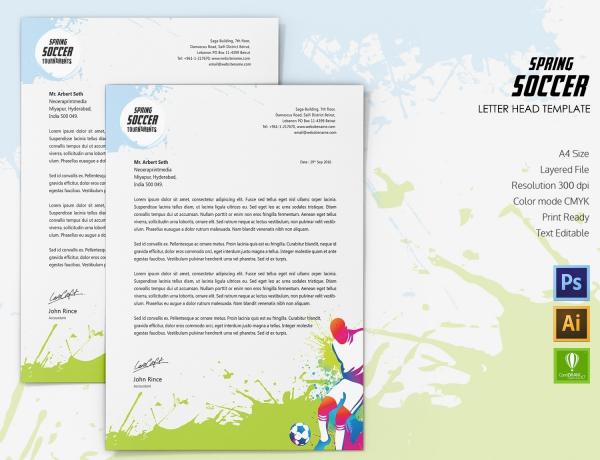 Spring Soccer Letterhead