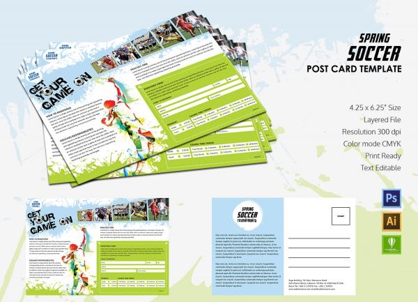 Spring Soccer Postcard