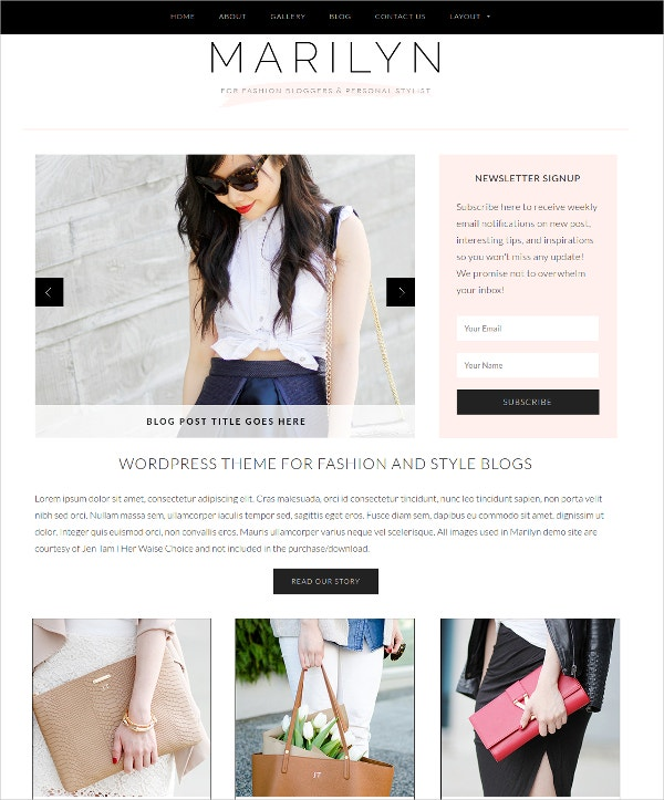Fashionable Blog WordPress Theme $79