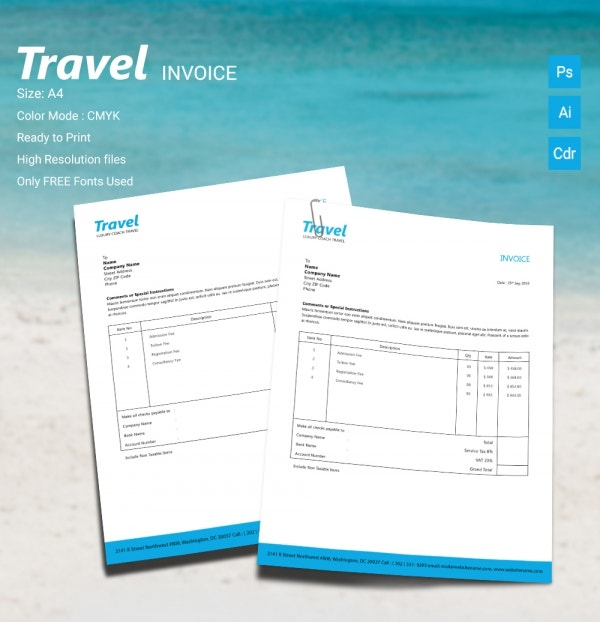 15+ travel templates - psd, ai, cdr format download | free, Invoice examples