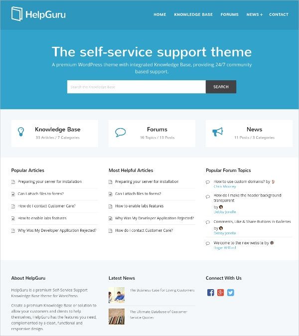 Forum Service Knowledge WordPress Theme $59