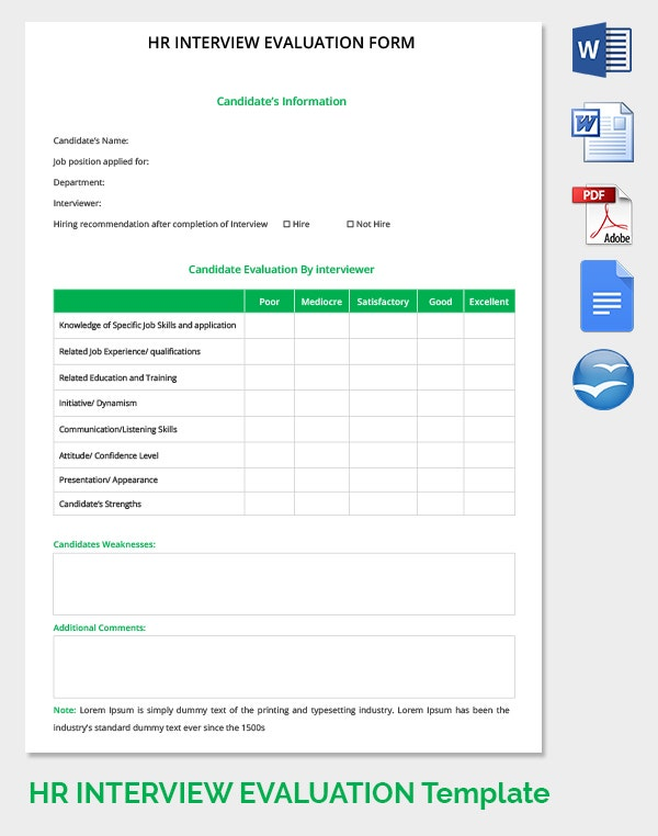 Lovely HR Interview Evaluation Form Template